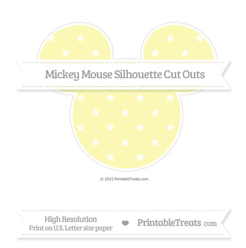 Free Pastel Light Yellow Star Pattern Extra Large Mickey Mouse Silhouette Cut Outs