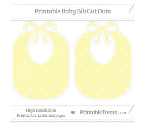 Free Pastel Light Yellow Star Pattern Large Baby Bib Cut Outs