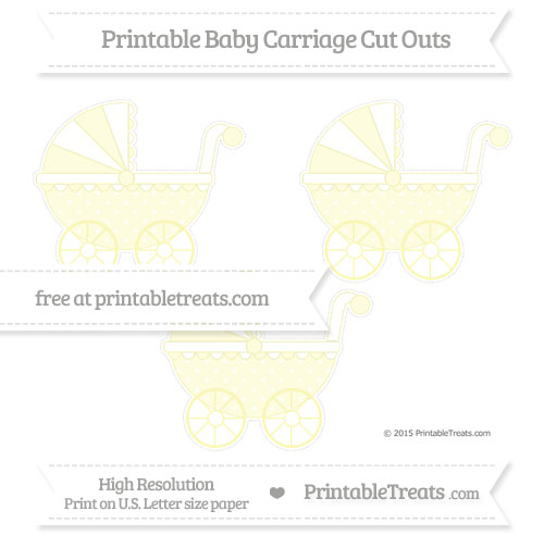 Free Pastel Light Yellow Star Pattern Medium Baby Carriage Cut Outs