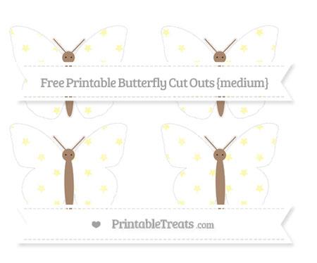 Free Pastel Light Yellow Star Pattern Medium Butterfly Cut Outs