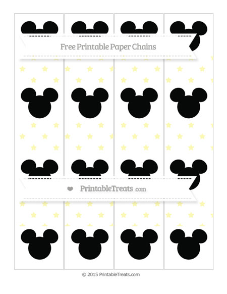 Free Pastel Light Yellow Star Pattern Mickey Mouse Paper Chains