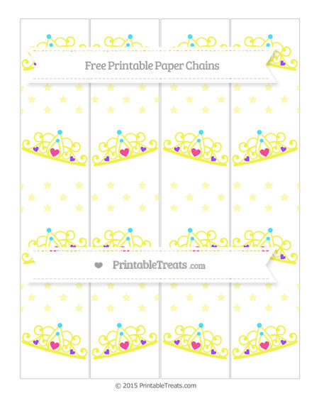 Free Pastel Light Yellow Star Pattern Princess Tiara Paper Chains