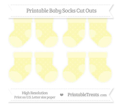 Free Pastel Light Yellow Star Pattern Small Baby Socks Cut Outs