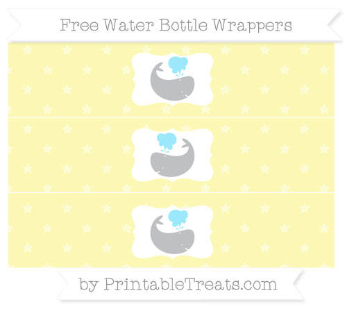 Free Pastel Light Yellow Star Pattern Whale Water Bottle Wrappers