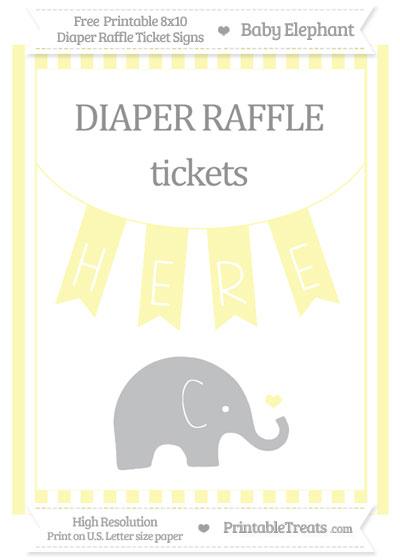 Free Pastel Light Yellow Striped Baby Elephant 8x10 Diaper Raffle Ticket Sign