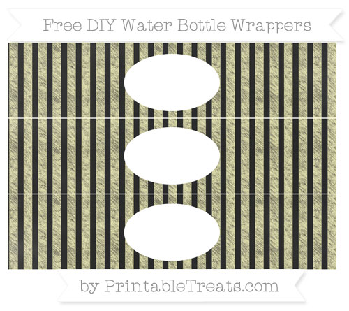 Free Pastel Light Yellow Striped Chalk Style DIY Water Bottle Wrappers