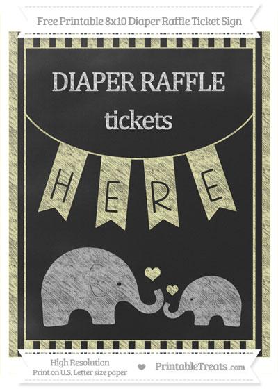 Free Pastel Light Yellow Striped Chalk Style Elephant 8x10 Diaper Raffle Ticket Sign