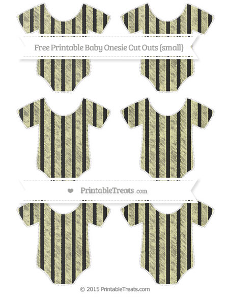 Free Pastel Light Yellow Striped Chalk Style Small Baby Onesie Cut Outs
