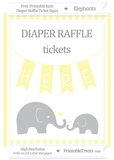 Free Pastel Light Yellow Striped Elephant 8x10 Diaper Raffle Ticket Sign