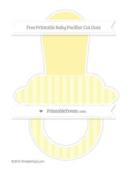 Free Pastel Light Yellow Striped Extra Large Baby Pacifier Cut Outs