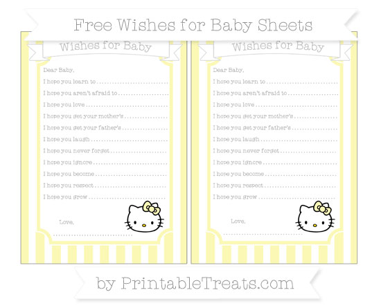 Free Pastel Light Yellow Striped Hello Kitty Wishes for Baby Sheets