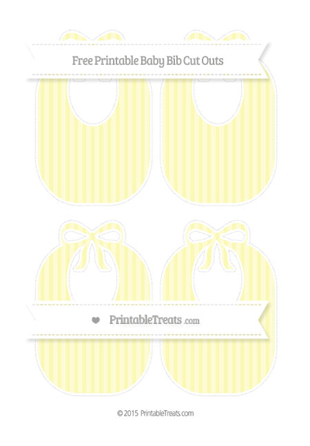 Free Pastel Light Yellow Striped Medium Baby Bib Cut Outs