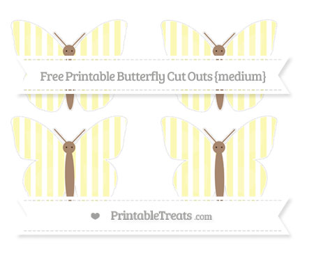 Free Pastel Light Yellow Striped Medium Butterfly Cut Outs