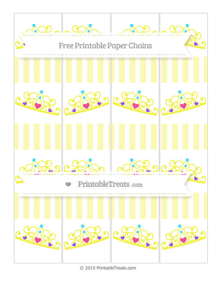 Free Pastel Light Yellow Striped Princess Tiara Paper Chains