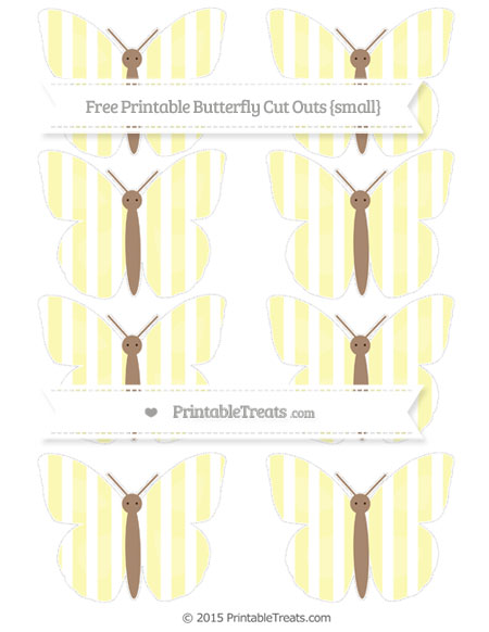 Free Pastel Light Yellow Striped Small Butterfly Cut Outs
