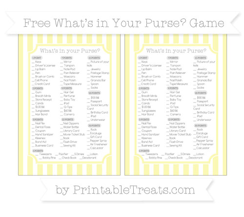 Free Pastel Light Yellow Striped What's in Your Purse Baby Shower Game