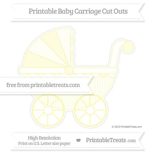 Free Pastel Light Yellow Thin Striped Pattern Extra Large Baby Carriage Cut Outs