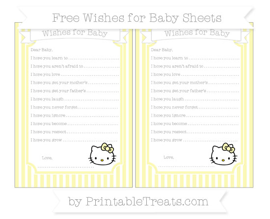 Free Pastel Light Yellow Thin Striped Pattern Hello Kitty Wishes for Baby Sheets