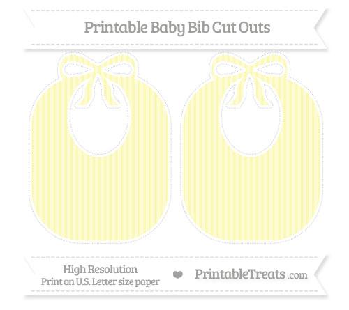 Free Pastel Light Yellow Thin Striped Pattern Large Baby Bib Cut Outs