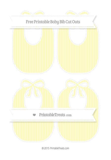 Free Pastel Light Yellow Thin Striped Pattern Medium Baby Bib Cut Outs