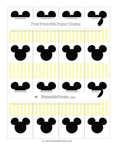Free Pastel Light Yellow Thin Striped Pattern Mickey Mouse Paper Chains