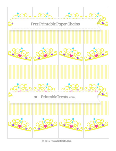 Free Pastel Light Yellow Thin Striped Pattern Princess Tiara Paper Chains