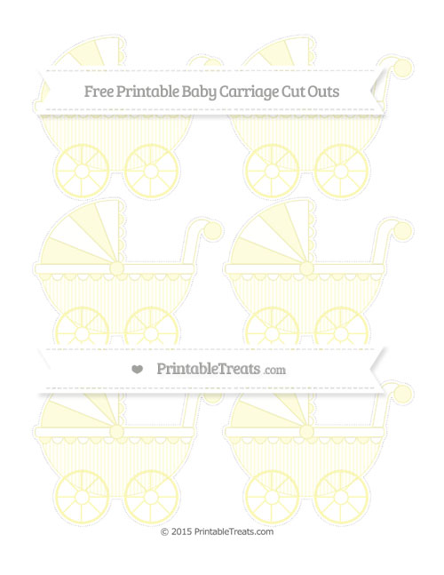 Free Pastel Light Yellow Thin Striped Pattern Small Baby Carriage Cut Outs