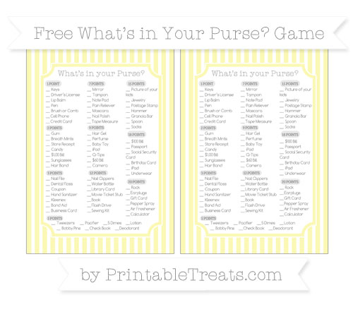 Free Pastel Light Yellow Thin Striped Pattern What's in Your Purse Baby Shower Game