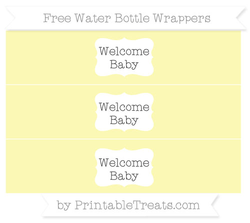 Free Pastel Light Yellow Welcome Baby Water Bottle Wrappers