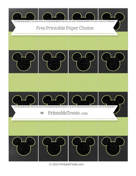 Free Pastel Lime Green Chalk Style Mickey Mouse Paper Chains