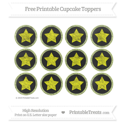 Free Pastel Lime Green Chalk Style Star Theme Cupcake Toppers