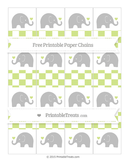Free Pastel Lime Green Checker Pattern Baby Elephant Paper Chains