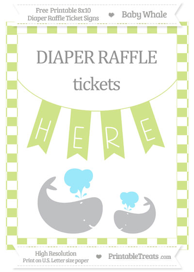 Free Pastel Lime Green Checker Pattern Baby Whale 8x10 Diaper Raffle Ticket Sign