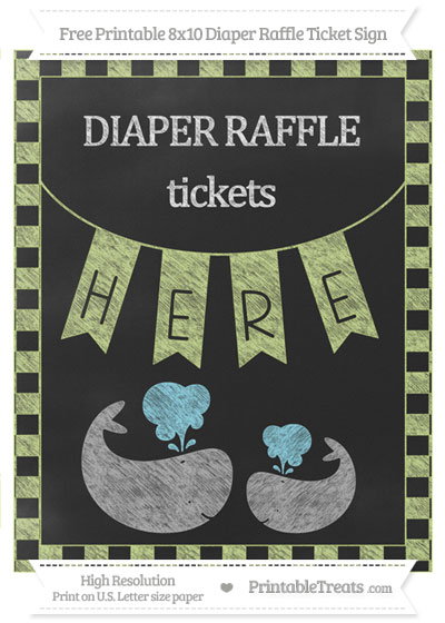 Free Pastel Lime Green Checker Pattern Chalk Style Baby Whale 8x10 Diaper Raffle Ticket Sign