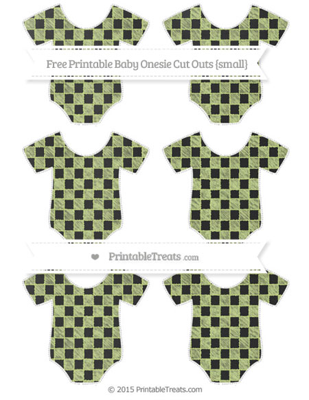 Free Pastel Lime Green Checker Pattern Chalk Style Small Baby Onesie Cut Outs