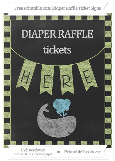 Free Pastel Lime Green Checker Pattern Chalk Style Whale 8x10 Diaper Raffle Ticket Sign