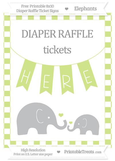 Free Pastel Lime Green Checker Pattern Elephant 8x10 Diaper Raffle Ticket Sign