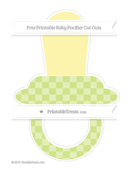 Free Pastel Lime Green Checker Pattern Extra Large Baby Pacifier Cut Outs