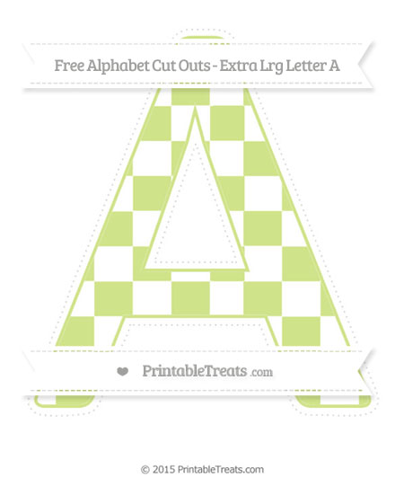 Free Pastel Lime Green Checker Pattern Extra Large Capital Letter A Cut Outs