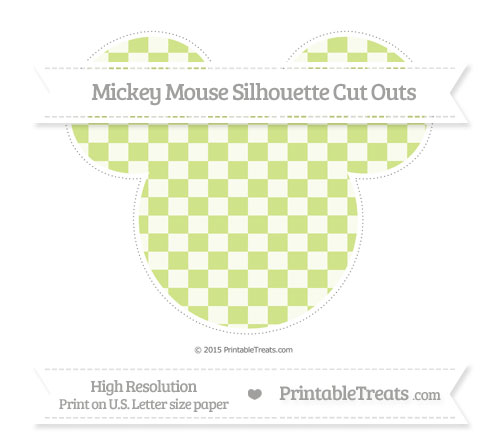 Free Pastel Lime Green Checker Pattern Extra Large Mickey Mouse Silhouette Cut Outs