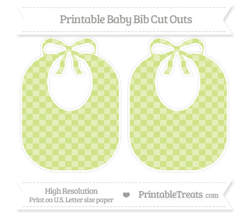 Free Pastel Lime Green Checker Pattern Large Baby Bib Cut Outs