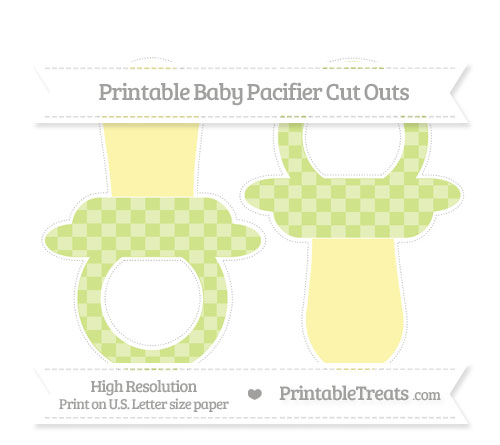Free Pastel Lime Green Checker Pattern Large Baby Pacifier Cut Outs