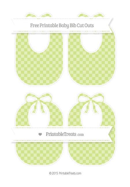Free Pastel Lime Green Checker Pattern Medium Baby Bib Cut Outs
