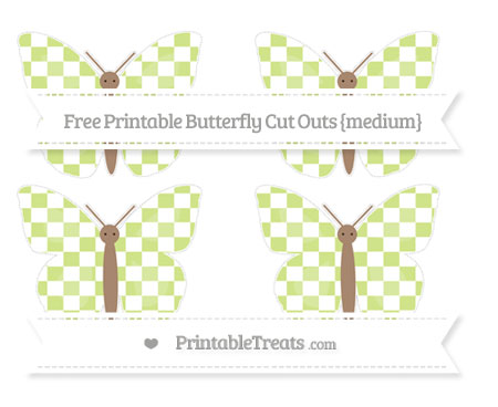 Free Pastel Lime Green Checker Pattern Medium Butterfly Cut Outs