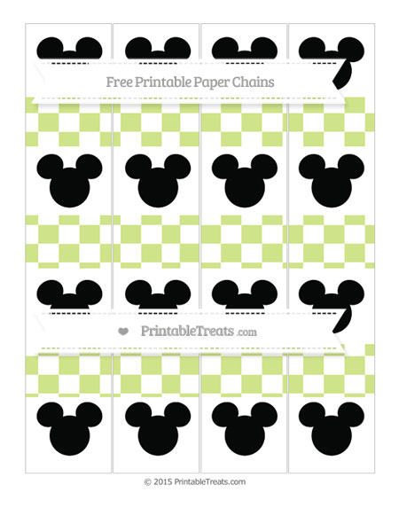 Free Pastel Lime Green Checker Pattern Mickey Mouse Paper Chains