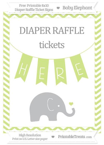 Free Pastel Lime Green Chevron Baby Elephant 8x10 Diaper Raffle Ticket Sign