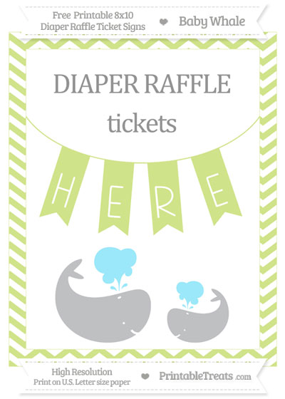 Free Pastel Lime Green Chevron Baby Whale 8x10 Diaper Raffle Ticket Sign