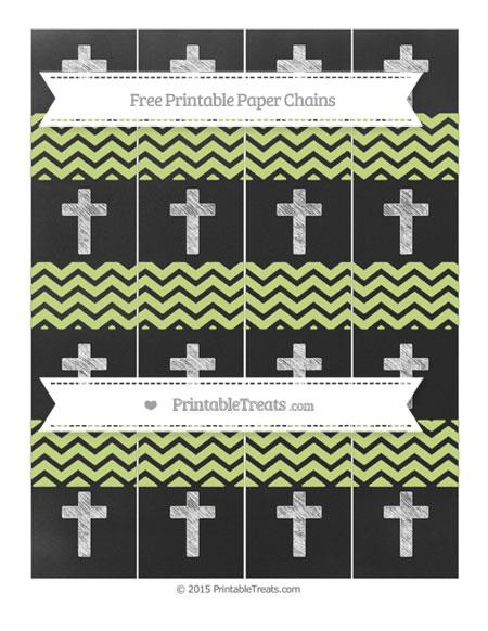 Free Pastel Lime Green Chevron Chalk Style Cross Paper Chains