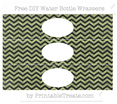 Free Pastel Lime Green Chevron Chalk Style DIY Water Bottle Wrappers