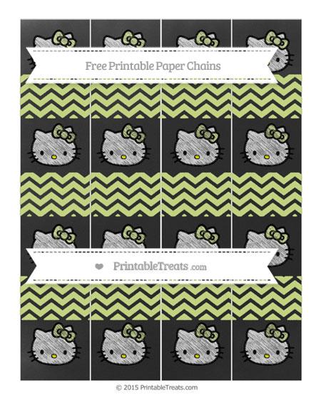 Free Pastel Lime Green Chevron Chalk Style Hello Kitty Paper Chains